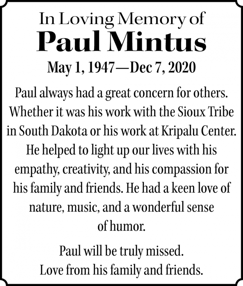 In Loving Memory Of Paul Mintus