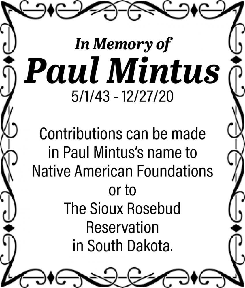 In Memory Of Paul Mintus