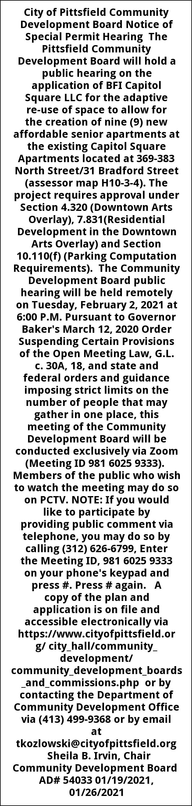 Special Permit Hearing
