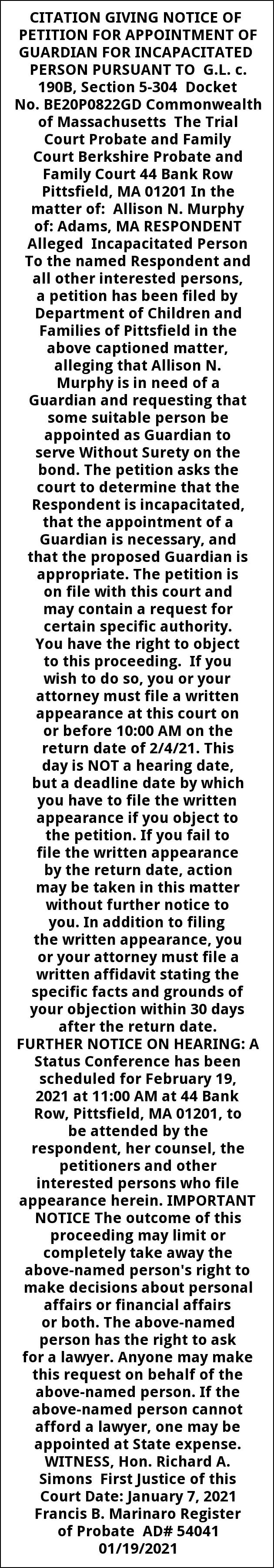 Informal Probate Publication Notice