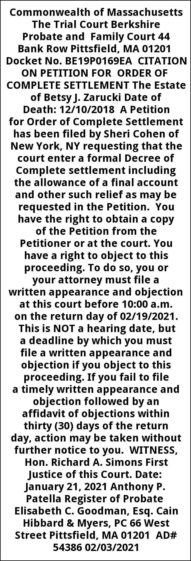 Citation On Petition For Order Of Complete Settlement