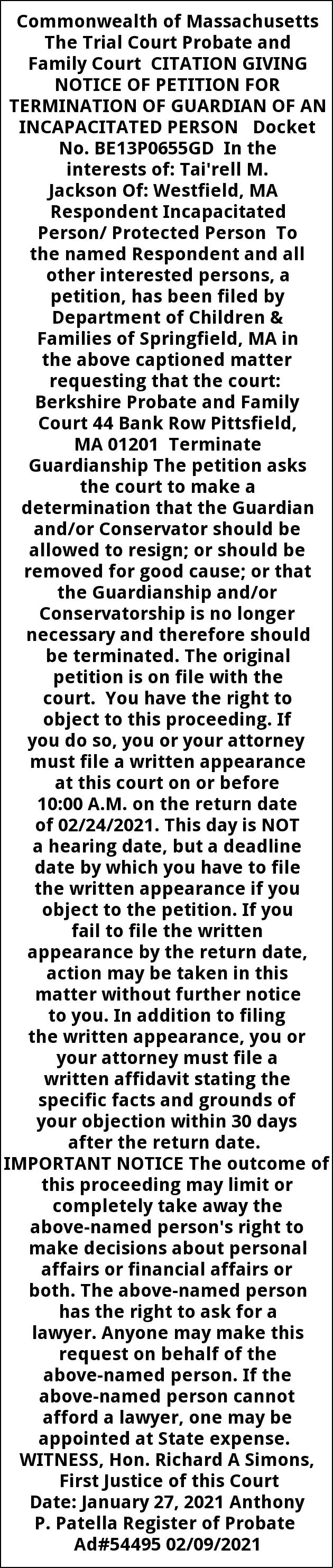 Notice Of Petition For Termination Of Guardian