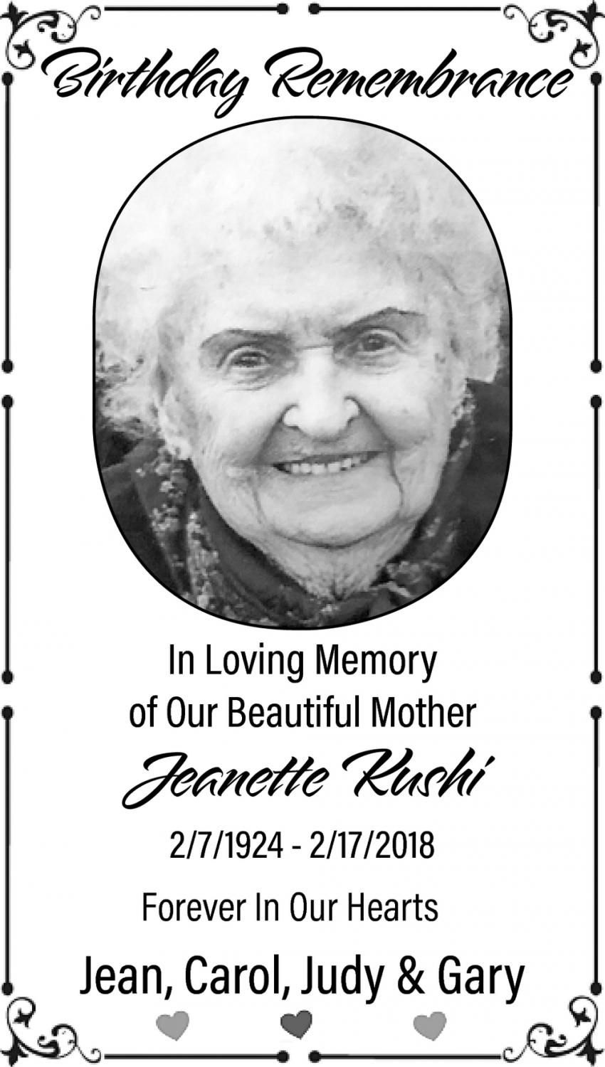 In Memory Of Jeanette Kushi