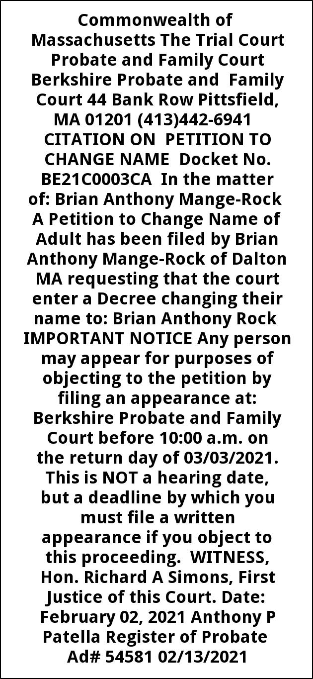 Citation On Petition To Change Name Docket No. BE21C0003CA