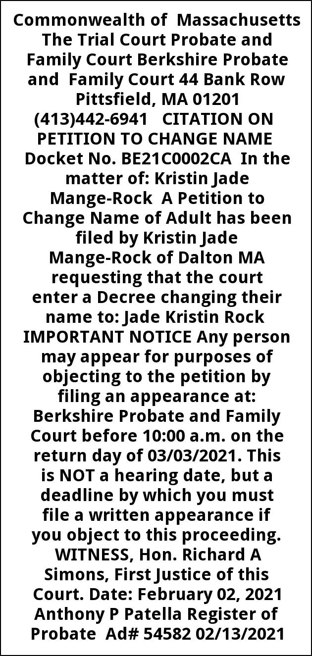 Citation On Petition To Change Name Docket No. BE21C0002CA