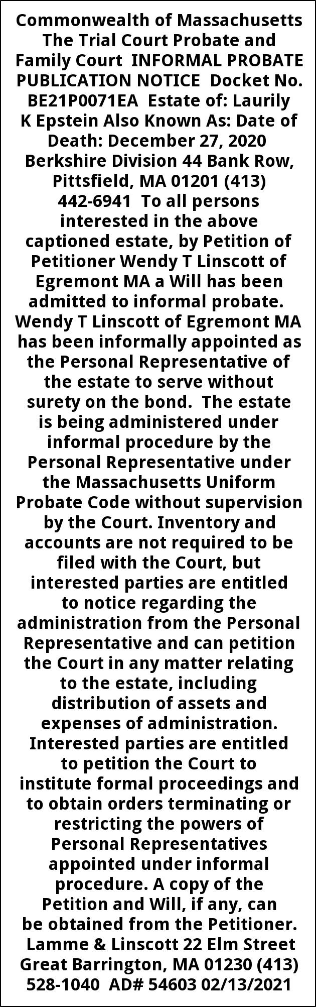 Informal Probate Publication Notice Docket No. BE21P0071EA