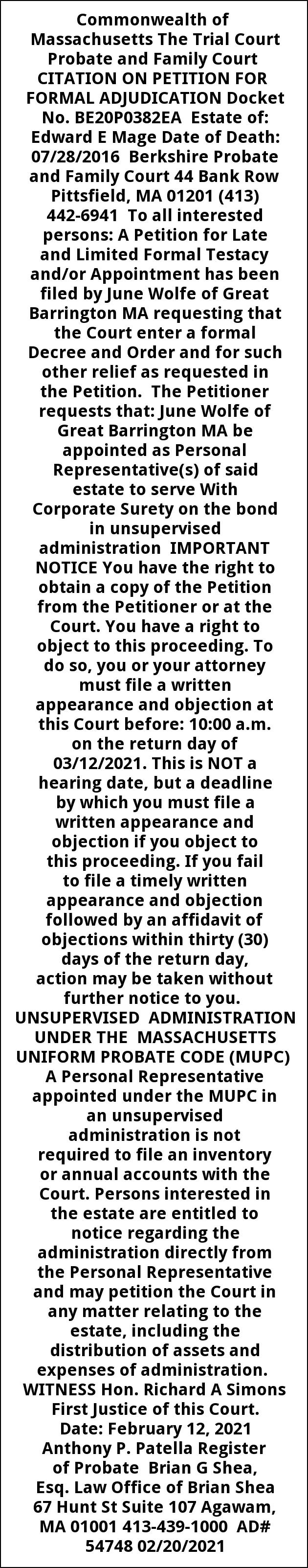 Citation On Petition for Formal Adjudication Docket