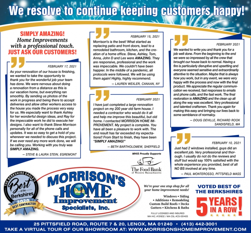 We Resolve To Continue Keeping Customers Happy