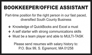 Bookkeeper/Office Assistant