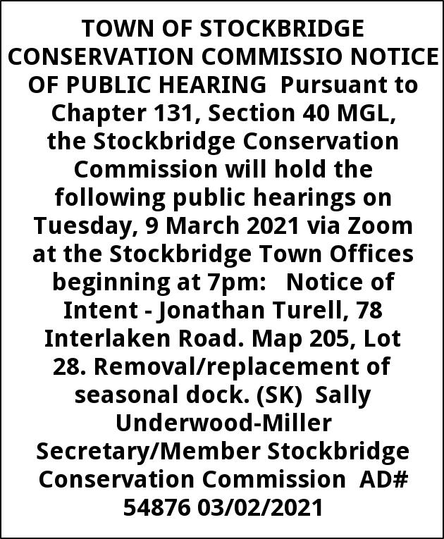 Convervation Commission Notice of Public Hearing