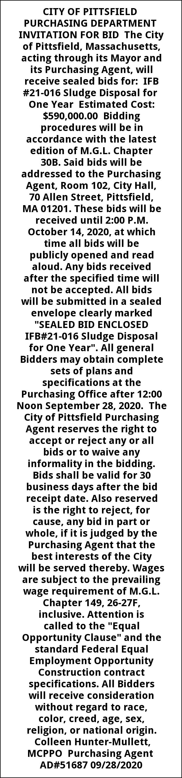 Purshasing Department Invitation for Bid