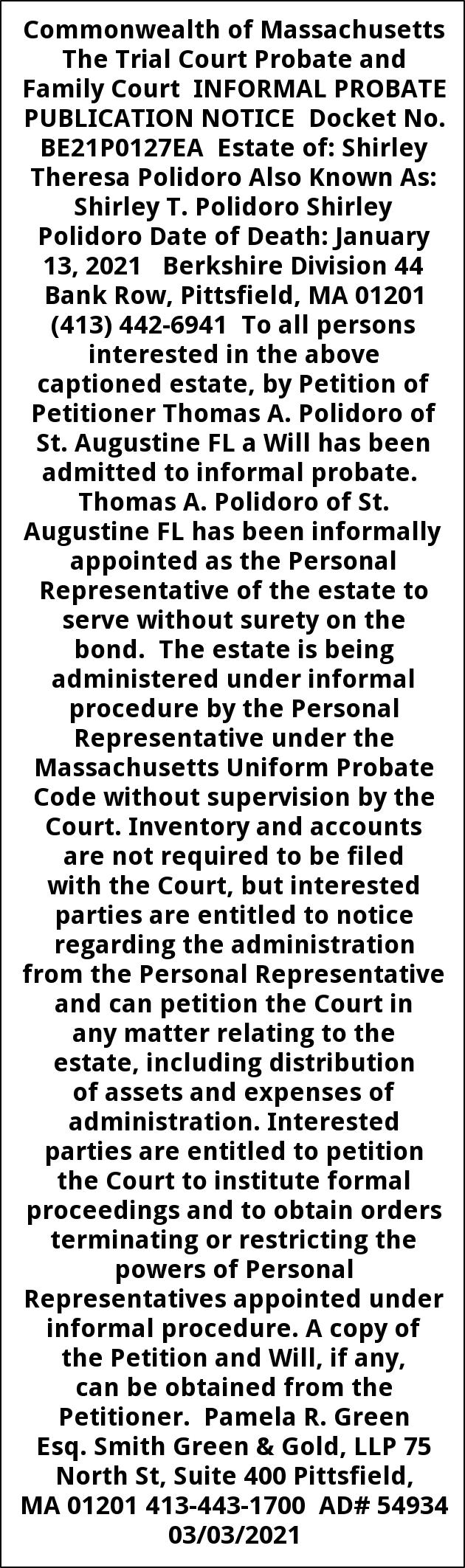 Probate Publication Notice