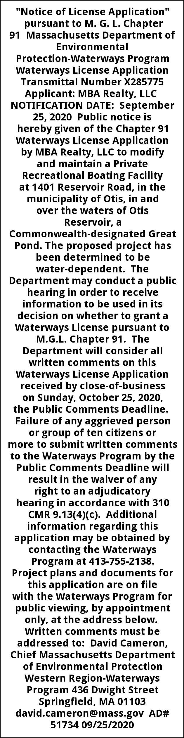Notice of License Application
