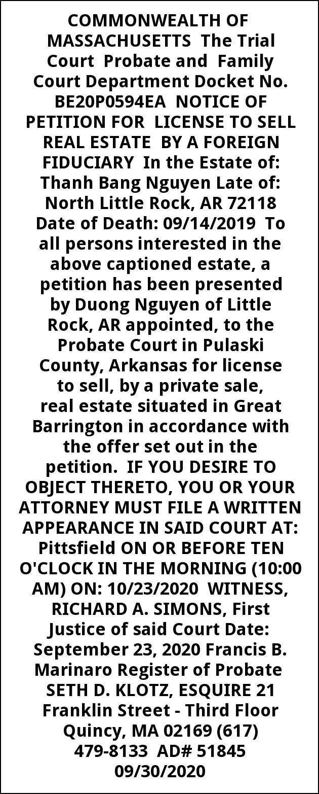 Notice of Petition for License to Sell Real Estate