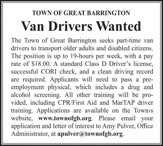 Van Drivers Wanted