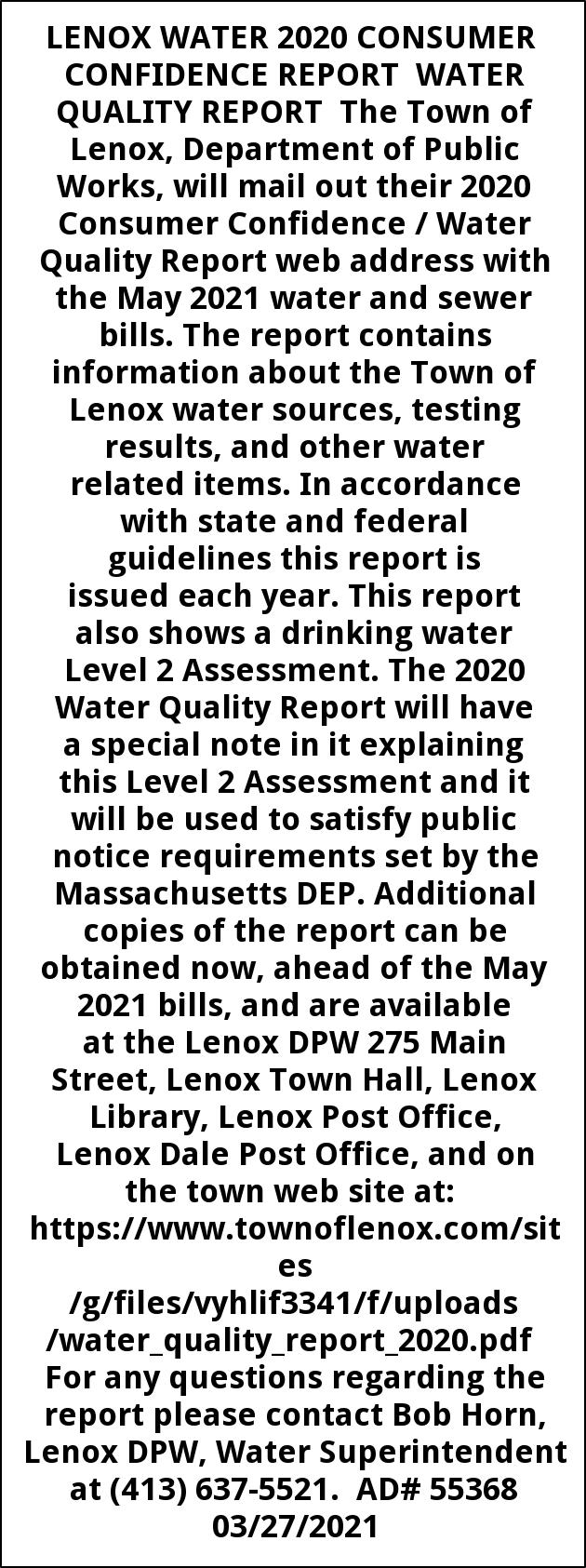 Lenox Water 2020 Consumer Confidence Report