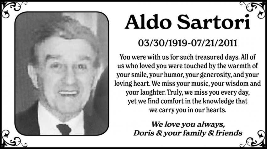 In Loving Memory Of Aldo Sartori