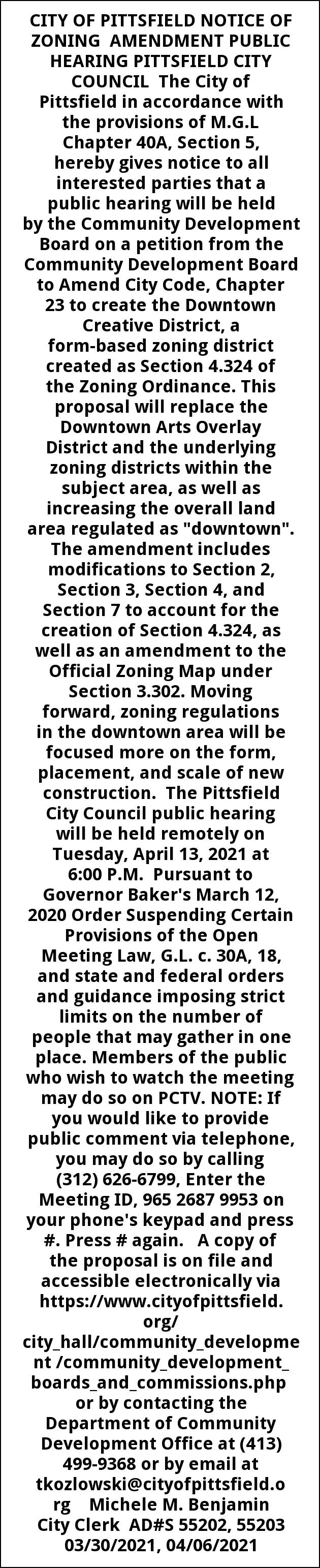 Notice Of Zonig Amendment Public Hearing