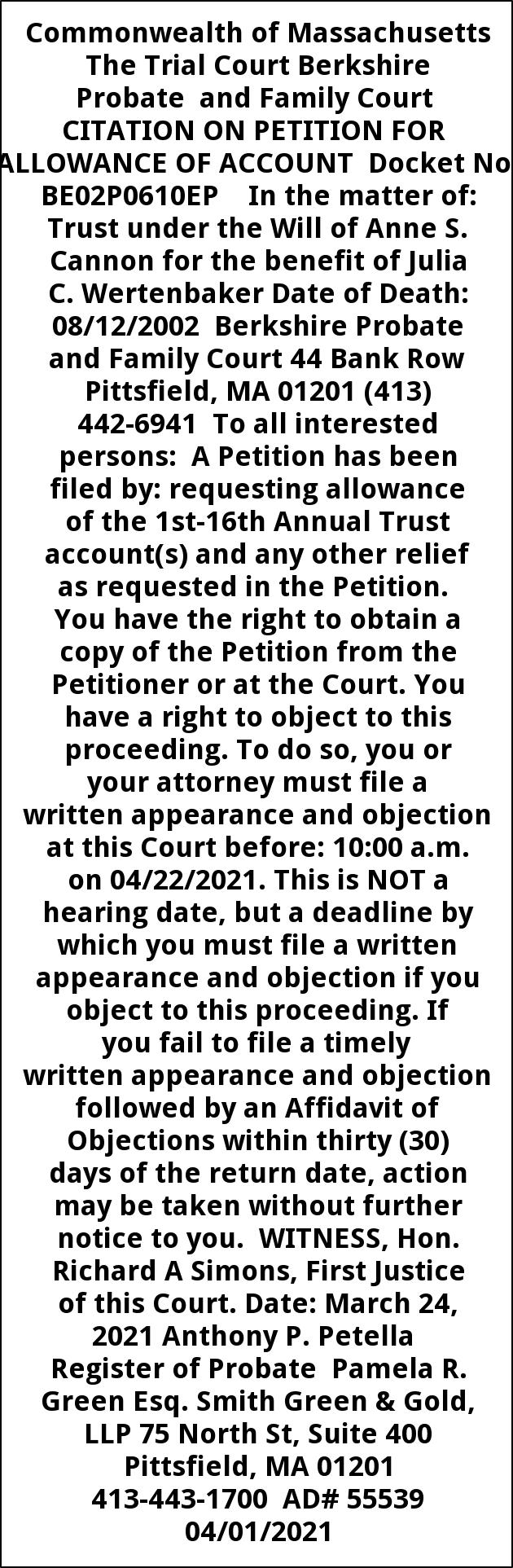 Citation On Petition For Allowance Of Account