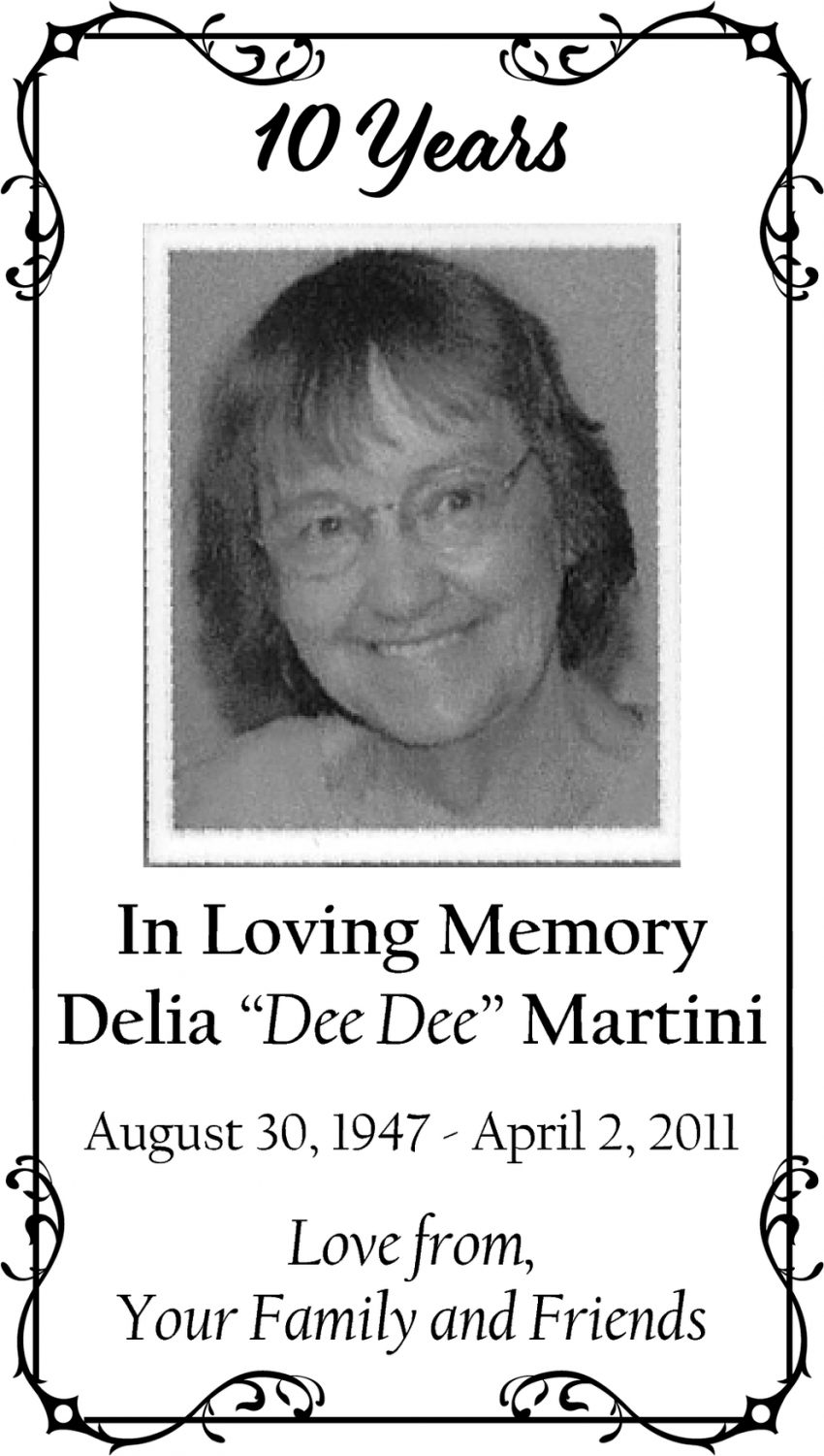 In Loving Memory Of Delia