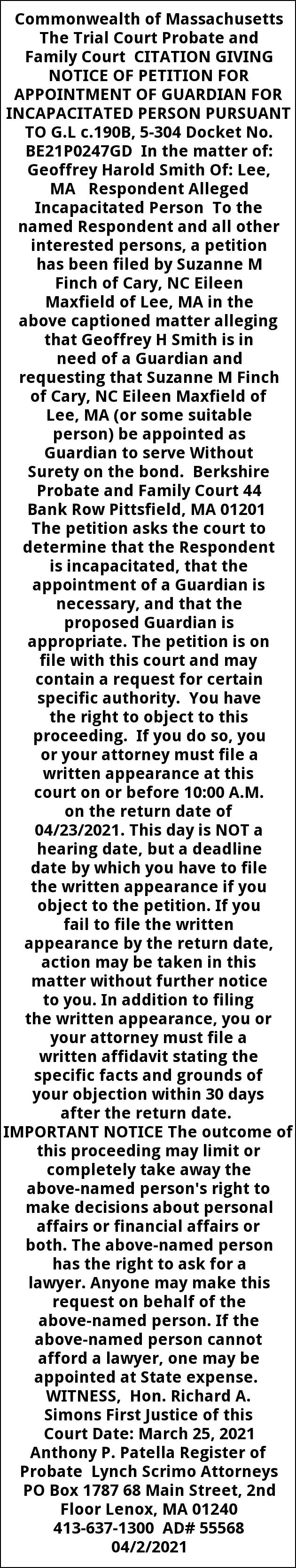Citation Giving Notice Of Petition For Appointment Of Guardian