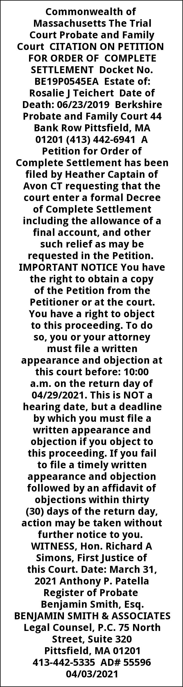 Citation On Petition For Order