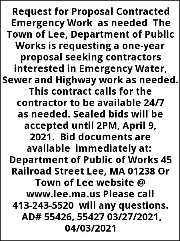 Request For Proposal Contracted Emergency Work