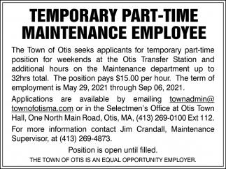 Temporary Part-Time Maintenance Employee