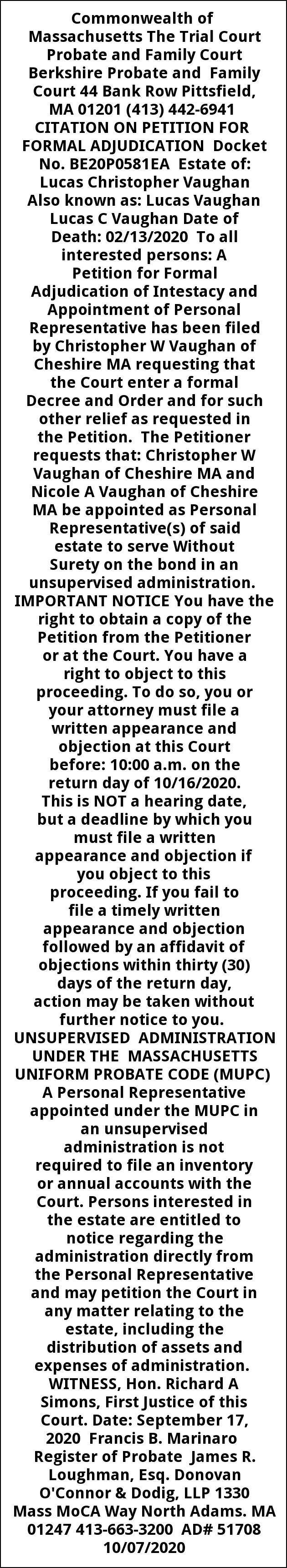 Citation On Petition for Formal Adjudicaton