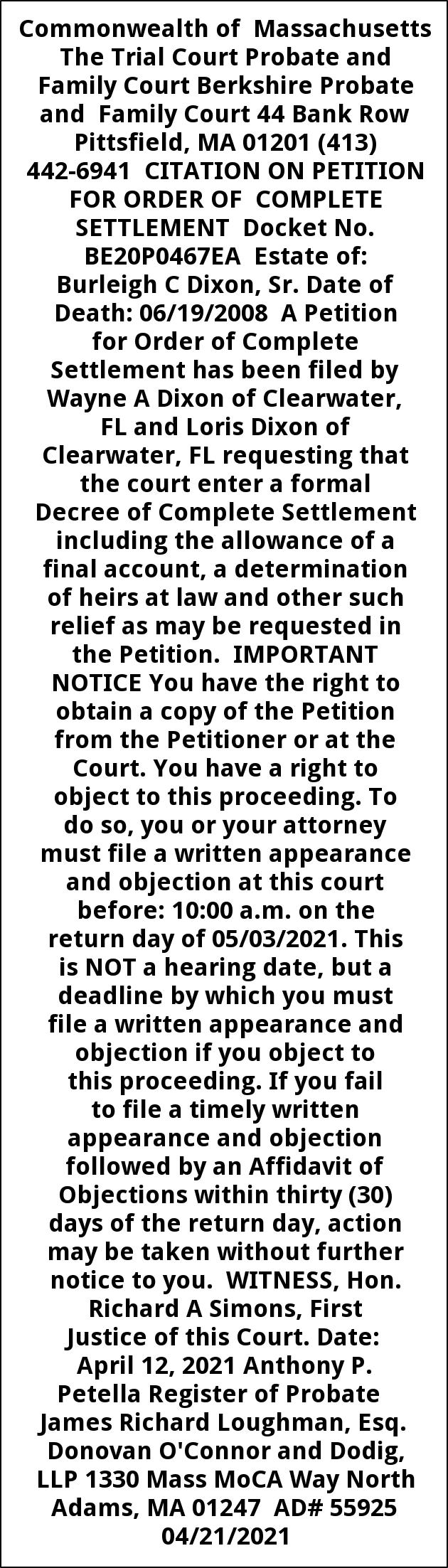Citation On Petition For Formal Adjudication