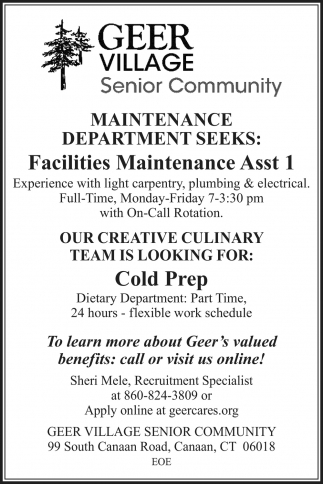 Facilities Maintenance Asst 1
