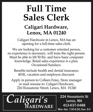 Full Time Sales Clerk