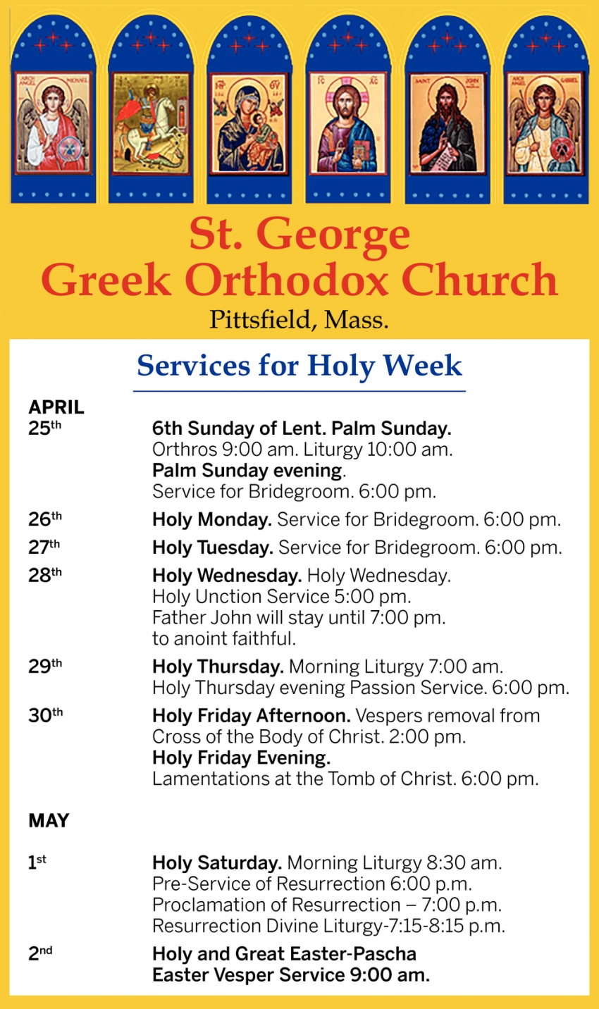 Services for Greek Orthodox Church