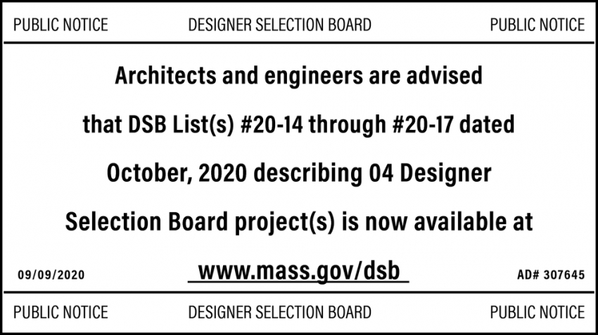 Architects and Engineers Are Advised that DSB List