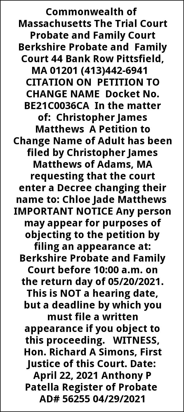 Citation On Petition To Change Name