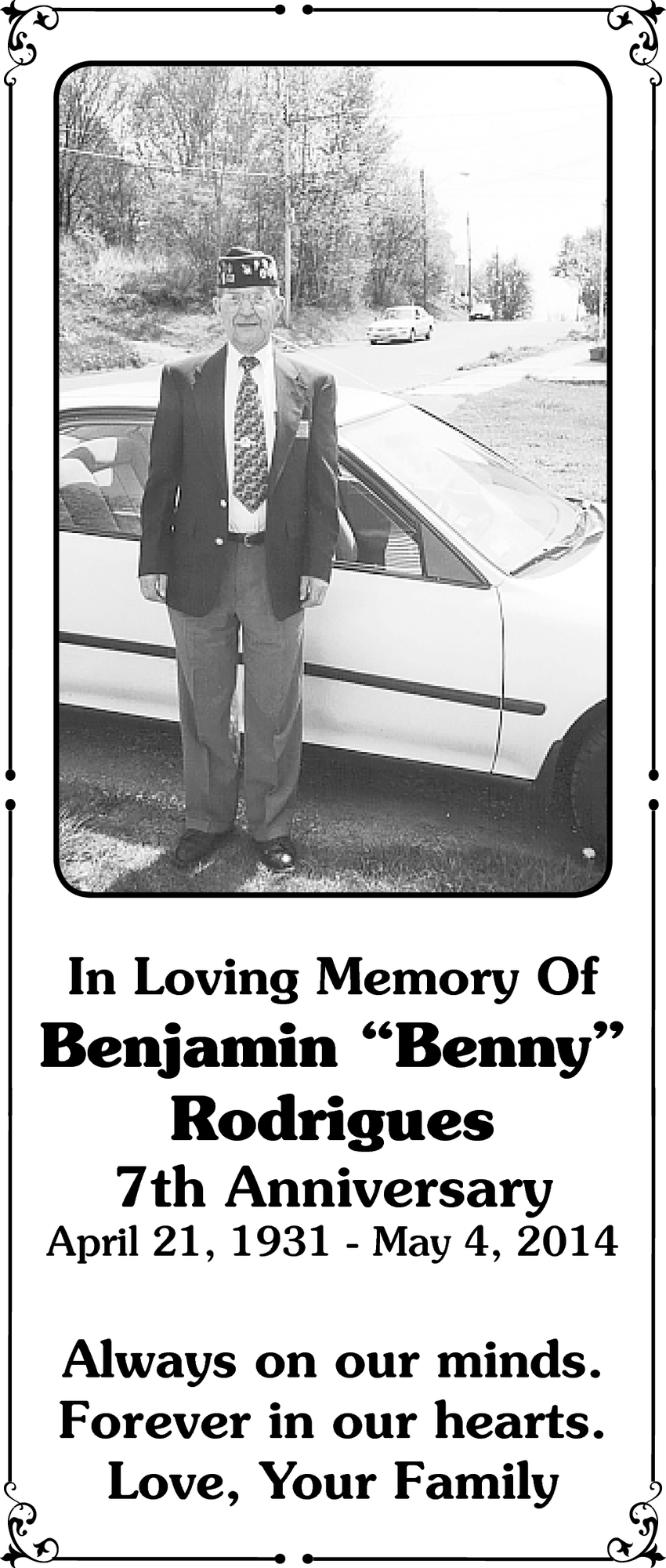 In Loving Memory Of Benjamin