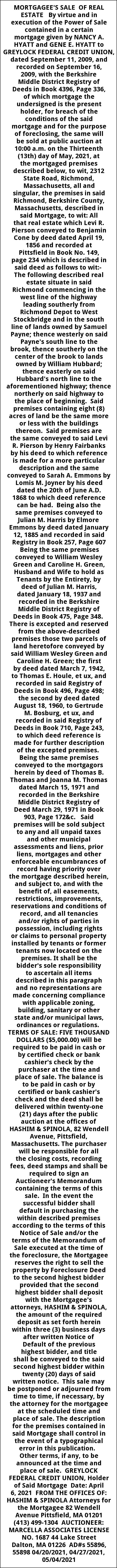 Mortagee's Sale of Real Estate