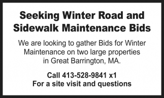 Winter Road And Sidewalk Maintenance Bids