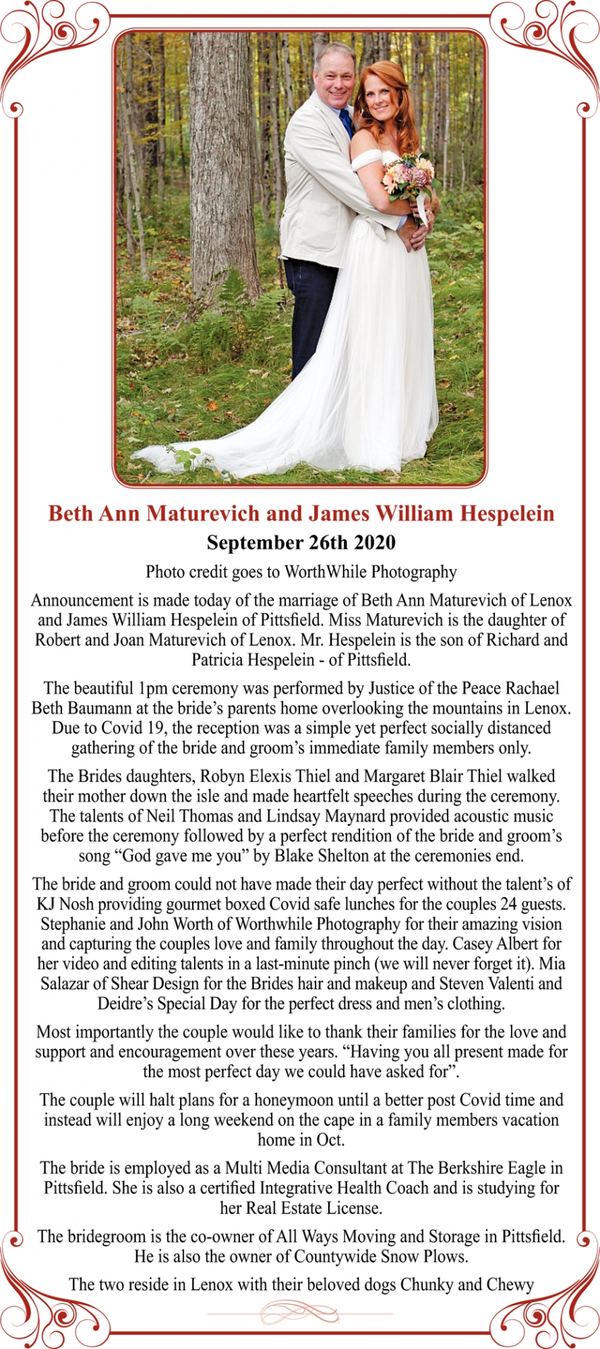 Beth Ann Maturevich and James William Hespelein