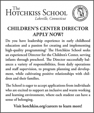 Children's Center Director Apply Now!