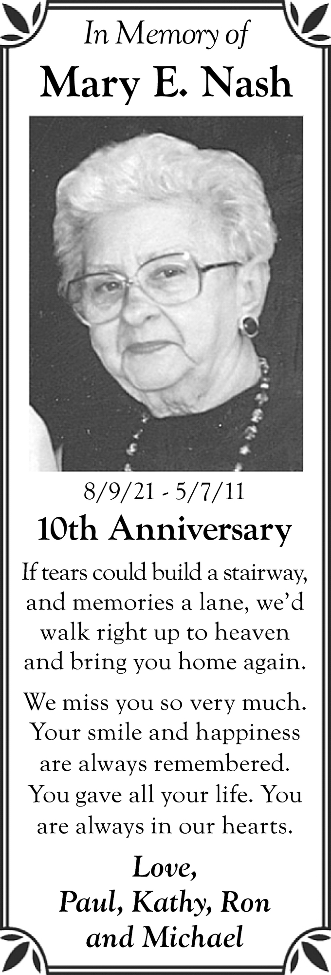 In Loving Memory Of Mary E. Nash