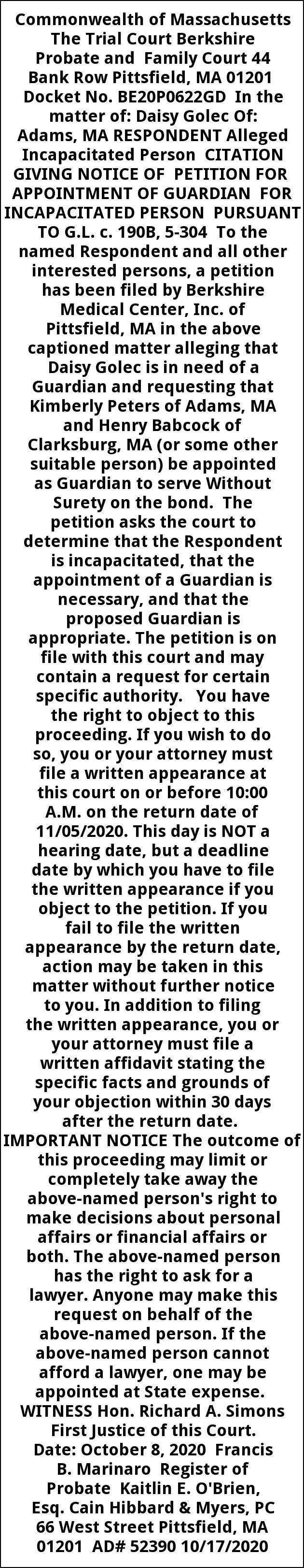 Citation Giving Notice Of Petition for Appointment