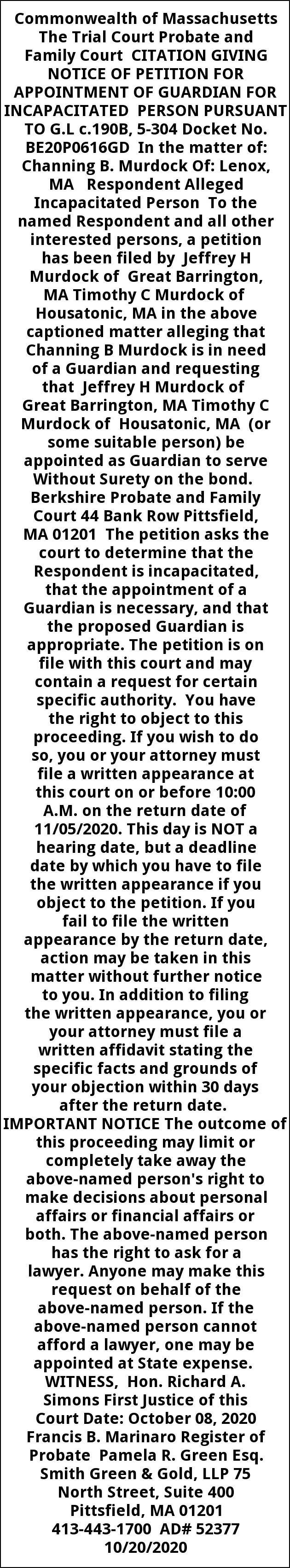 Citation Giving Notice of Petition
