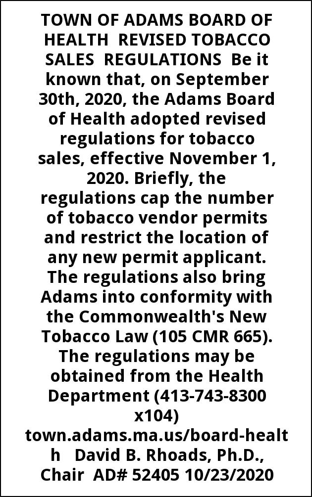 Tobacco Sales Regulations