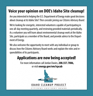 Voice your Opinion on DOE's Idaho Site Cleanup