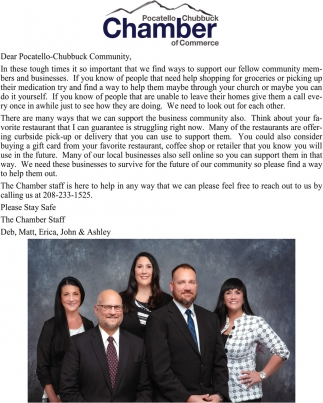 Dear Pocatello-Chubbuck Community