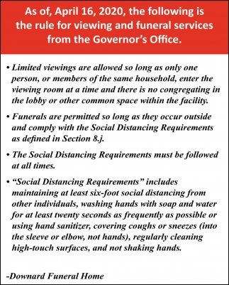 Rule for Viewing and Funeral Services