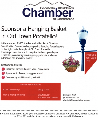 Sponsor a Hanging Basket in Old Town Pocatello!