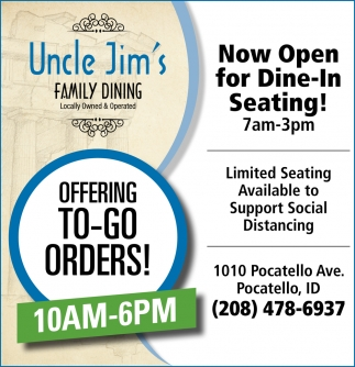 Now Open for Dine-In Seating