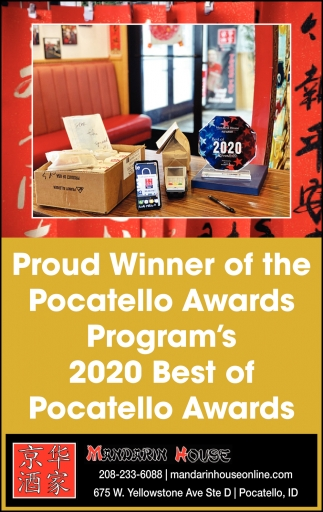 Proud Winner of the Pocatello Awards Program's 2020 Best of Pocatello Awards